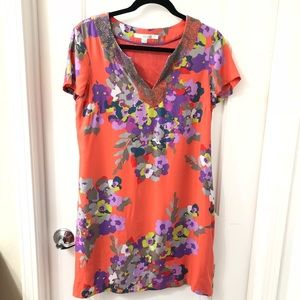 Boden beaded silk floral coral dress